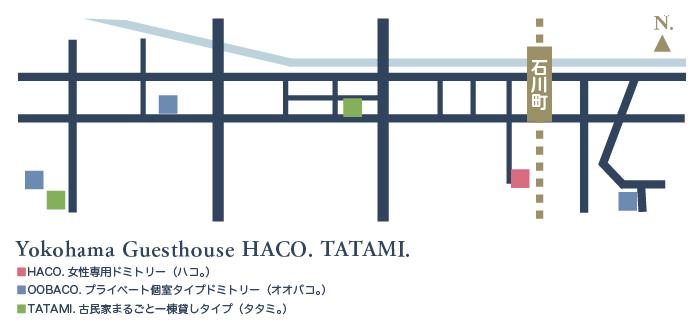 YOKOHAMA GUESTHOUSE HACO. TATAMI. MAP